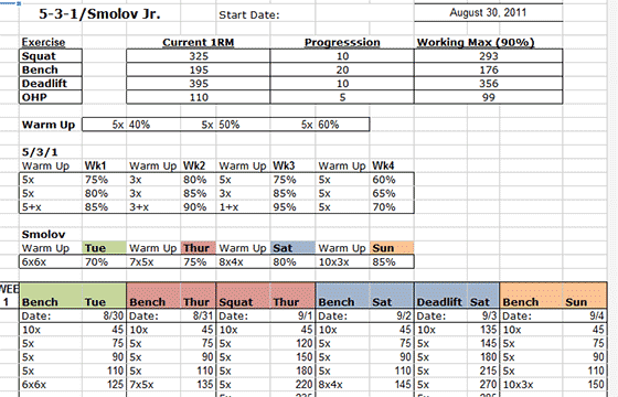 531 Smolov JR Spreadsheet
