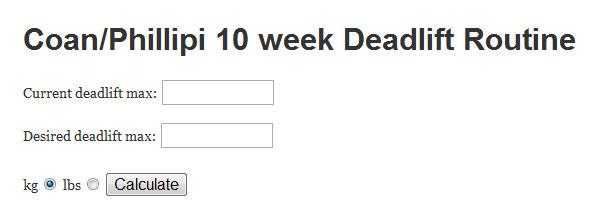 Coan Phillipi 10 week Deadlift Routine Calculator