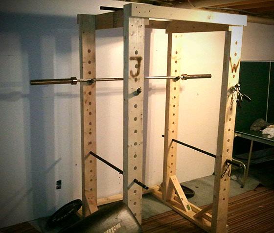 Homemade wooden power rack all things gym for Power rack design plans
