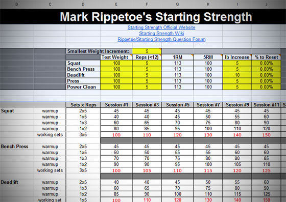 Starting Strength Routine Generator Spreadsheet - All Things Gym