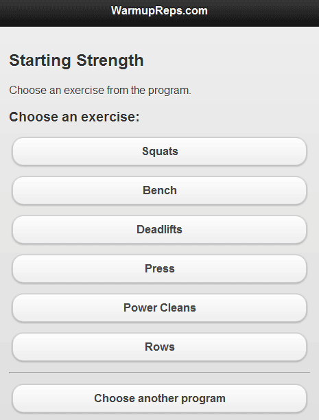 starting strength calculator