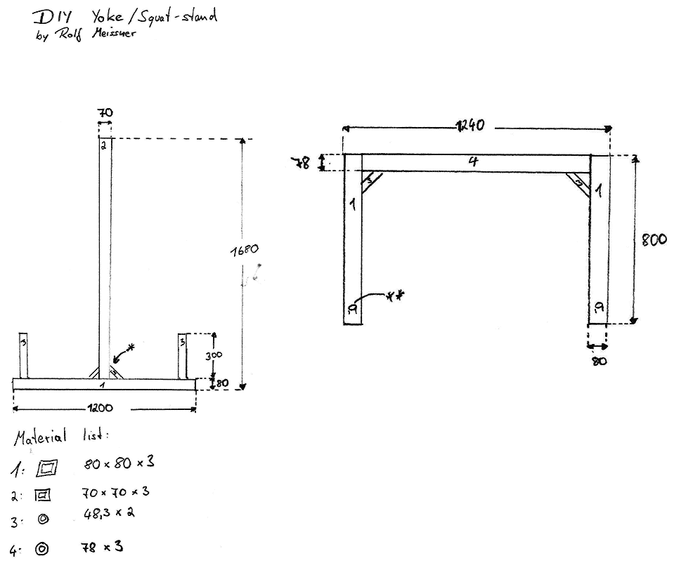 DIY Yoke Squat Stand Construction Plan Blueprint
