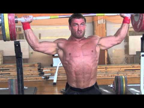 Dmitry Klokov 125kg x3 Behind the Neck Snatch Grip Press ...
