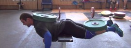 Vladislav Rigert & Dmitry Klokov 100kg Weighted Back Plank