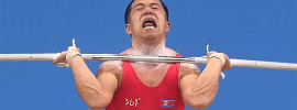 Om Yun Chol Best Korea Triple Bodyweight Clean Jerk Face Weightlifting Intensity