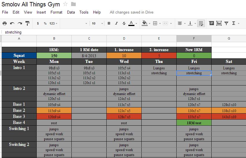 smolov squat routine spreadsheet