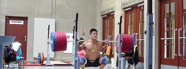 Lu Xiaojun 260kg Paused Squat in 2013 Worlds Training Hall