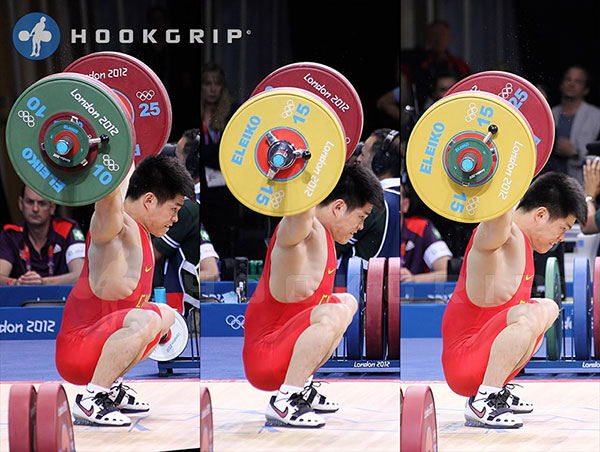 Lin Qingfeng (CHN, M69-) 2012 Olympic gold medalist pushing his head  forward to lock his shoulders in place. (Hookgrip)