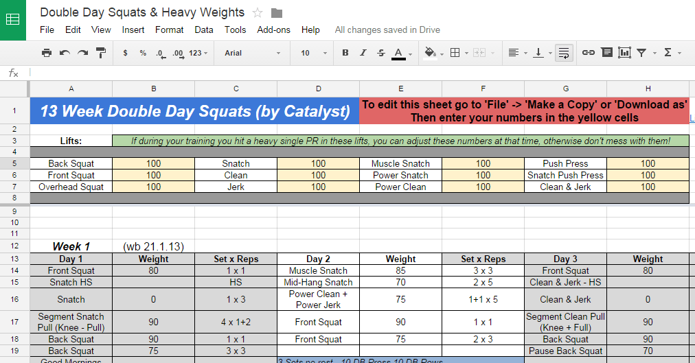 catalyst 13 week double day squats programsessions