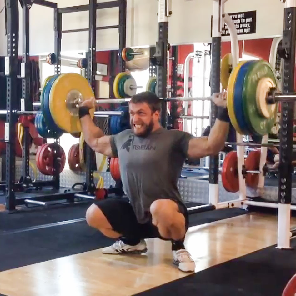 Dmitry Klokov 120kg BTN Snatch Grip Press in Deep Squat ...