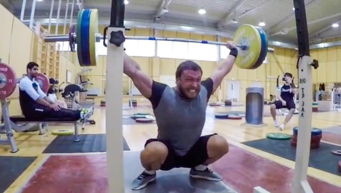 Dmitry Klokov 120kg BTN Snatch Grip Press in Deep Squat ...