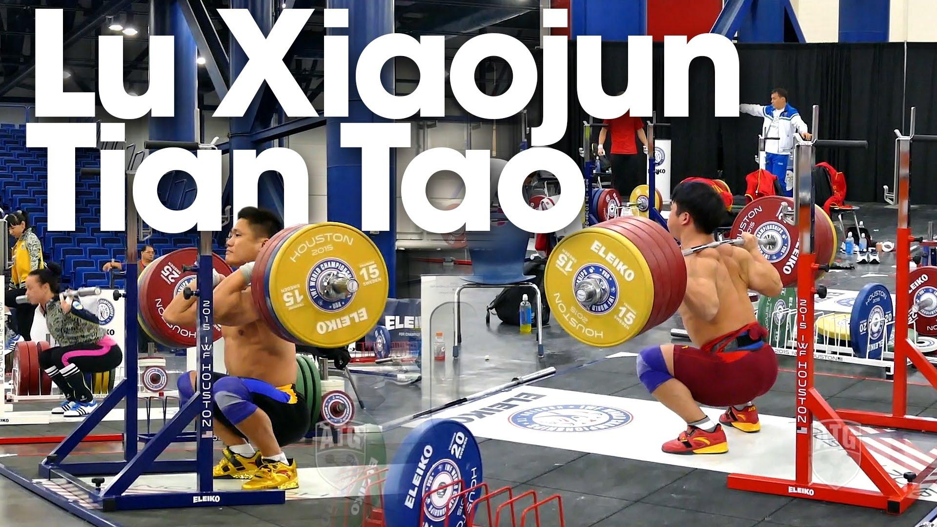 Lu xiaojun amp tian tao squat session 2015 world weightlifting