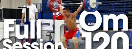 Om Yun Chol Snatching up to 120kg 2015 Worlds Training Hall *Full Session*