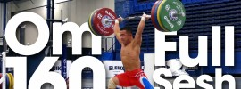 Om Yun Chol Clean & Jerk up to 160kg 2015 Worlds Training Hall