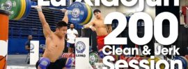 Lu Xiaojun 200kg Clean & Jerk with a Smile *Full Session* 2015 Worlds Training Hall
