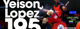 Yeison Lopez 161kg Snatch + 195kg Clean & Jerk 2017 Junior World Championships